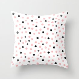 Pink and black spotty mess Throw Pillow