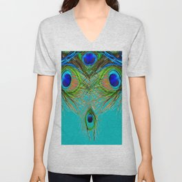 TURQUOISE BLUE-GREEN PEACOCK FEATHERS ART Unisex V-Neck