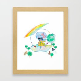 Anime girl jumping rope under a rainbow with forest animals Framed Art Print