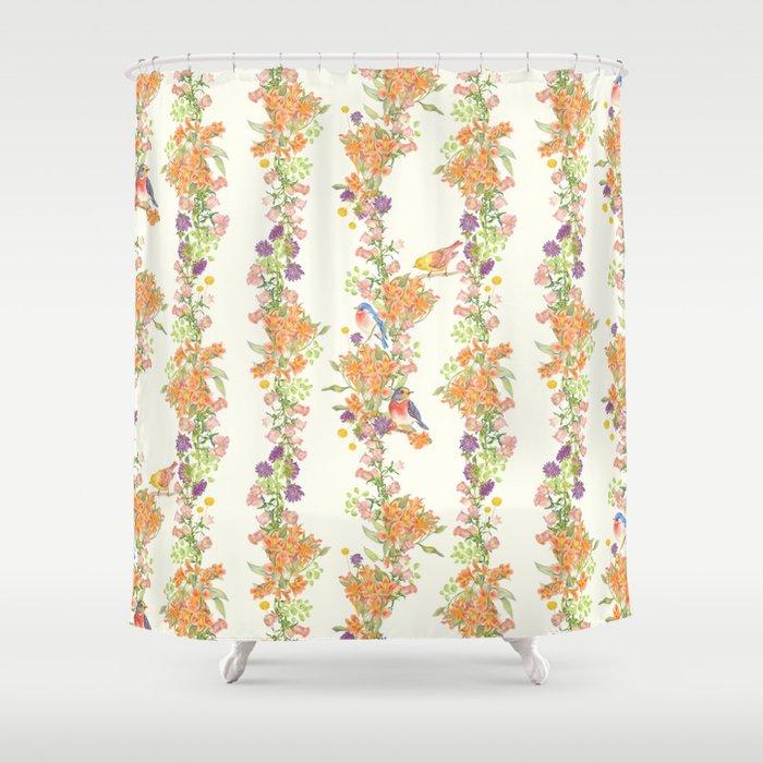 Romantic Vintage Design of Birds & Flowers - Natural colorful Shower Curtain