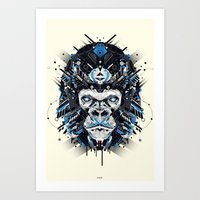 gorilla Art Prints featuring gorilla by yoaz