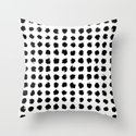 Black and White Minimal Minimalistic Polka Dots Brush Strokes Painting by aej_design