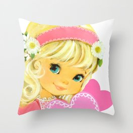 Valentine Girl with Flowers Throw Pillow
