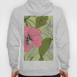 Tropical exotic flowers and leaves. Seamless pattern. Hoody