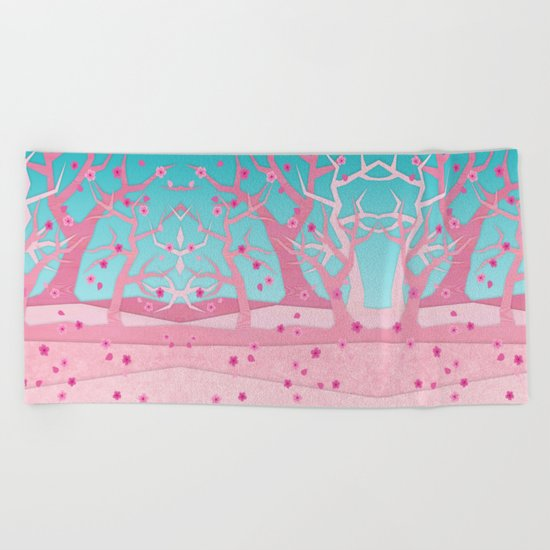 Spring trees Beach Towel