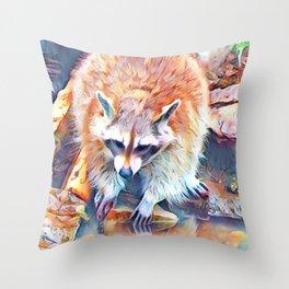 Aquarell Raccoon Throw Pillow