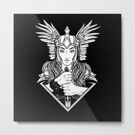 Valkyria Nordig Viking Design Metal Print