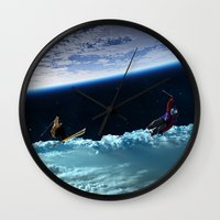 skiing Wall Clocks featuring Skiing by Cs025