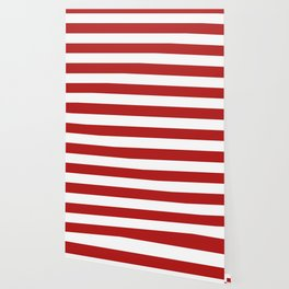 Cornell red - solid color - white stripes pattern Wallpaper