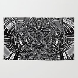Subconscious Healing Frequency Black and White Edition Rug