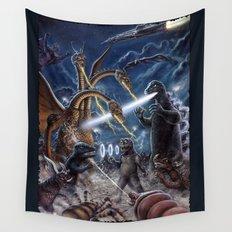 Godzilla Destroy all Monsters Monster Island Kaiju battle Wall Tapestry