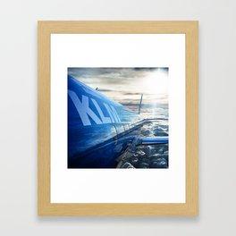 klm airplane flying on the sky Framed Art Print