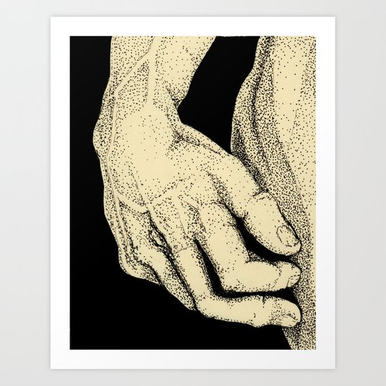 David's Hand in ink Art Print