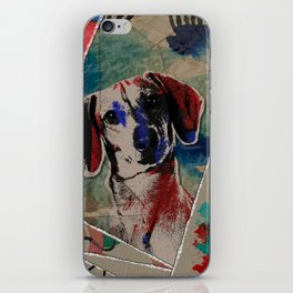 Dachshund Abstract mixed media digital art collage iPhone Skin