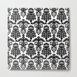 Floral Pattern Black & White Metal Print
