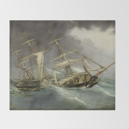 Vintage Destroyed Sailboat During Storm Painting (1859) Throw Blanket