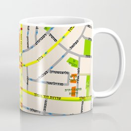 Tel Aviv map design - written in Hebrew Coffee Mug