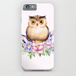 Bohomian Animal Illustration- Be Wise Little Owl iPhone Case