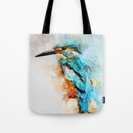 Watercolor kingfisher bird Tote Bag