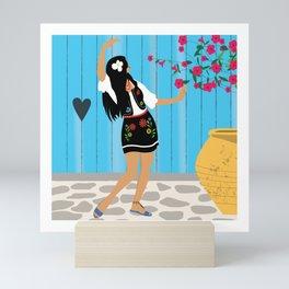 Dancer Bohemian Flower Girl Mini Art Print