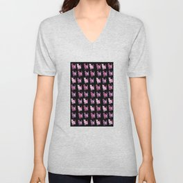 Black and pink cat pattern Unisex V-Neck