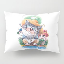 A cat family on the summer holiday Pillow Sham