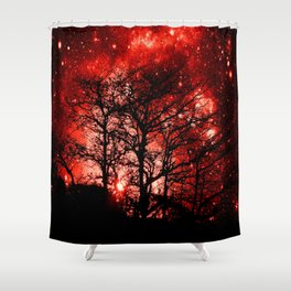 black trees red space Shower Curtain