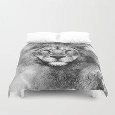 Lion Black and White Duvet Cover