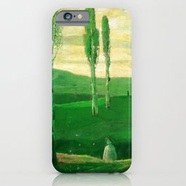 Springtime in Campagna, Salerno, Italy (Little girl chasing butterflies) by Lajos Gulácsy iPhone Case