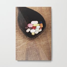 Suplement pills on old wooden spoon concept Metal Print