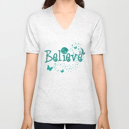 BELIEVE - teal stars & butterflies Unisex V-Neck