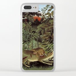 """""""The Hungry Lion""""by  Henri Rousseau Clear iPhone Case"""