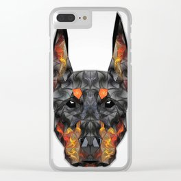 Doberman Colored Zentangle Art Clear iPhone Case