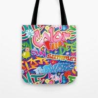 graffiti Tote Bags featuring Graffiti by Helene Michau