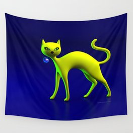 The Yellow Cat And Glass Blue Cherry Wall Tapestry