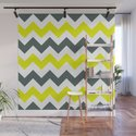 Chevron Pattern In Limelight Yellow Grey and White by taiche