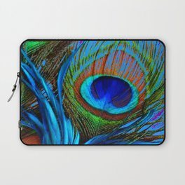 FLOWING BABY BLUE PEACOCK FEATHERS ART Laptop Sleeve
