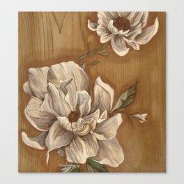 Magnolia on Wood Canvas Print