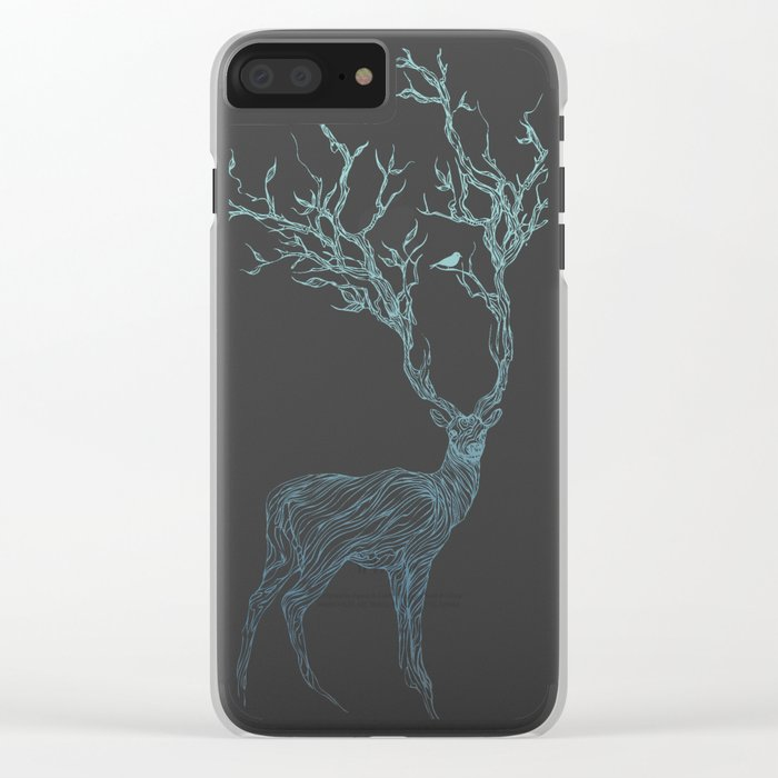 Blue Deer Clear iPhone Case