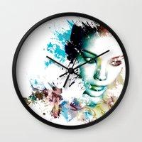 asia Wall Clocks featuring Asia by J. Ekstrom