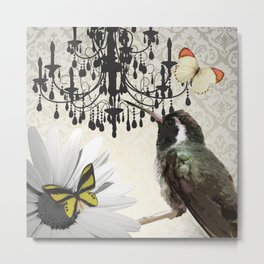 Vintage Chandelier Bird Flower & Butterflies Metal Print