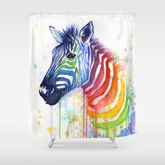 Zebra Watercolor Rainbow Animal Painting Ode to Fruit Stripes Shower Curtain