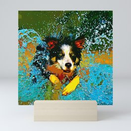 border collie jumping in water vector art Mini Art Print
