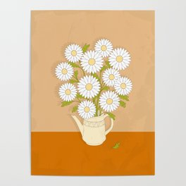 bouquet of white camomiles in the vase Poster