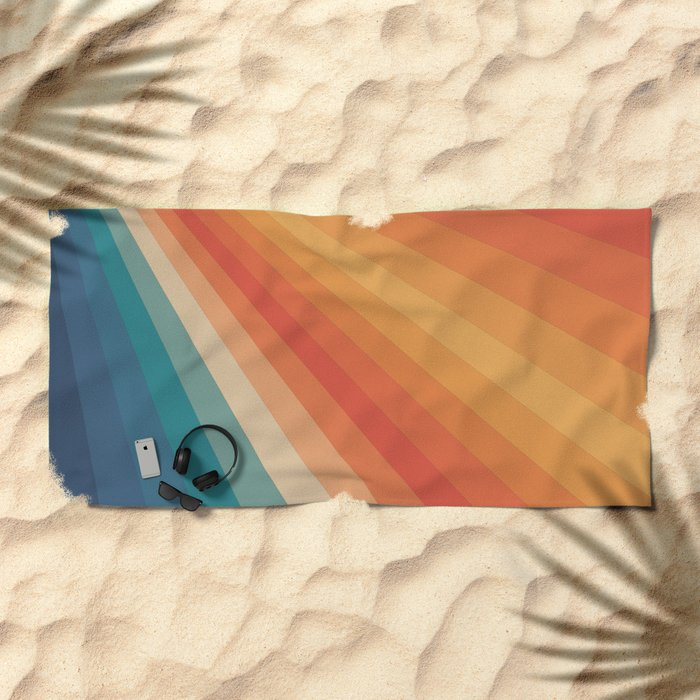 Retro 70s Sunrays Beach Towel