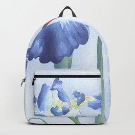 Bee And Blue Iris Flowers - Vintage Japanese Woodblock Print Art By Ohara koson Backpack