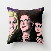 hocus pocus Throw Pillows featuring Hocus Pocus - Sanderson Sisters by Binge Designs Homeware