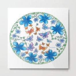 Blue Flower Pattern Metal Print