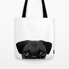 Black Pug, Original painting by miart Tote Bag