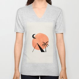 Minimalist Abstract Ink Collage Ancient Egypt Pyramids Tan Circle Desert Landscape by Ejaaz Haniff Unisex V-Neck